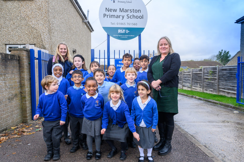 New Marston primary out of special measures.New Deputy Head Rachel Vlachonikolis and Head Teacher Tracey Smith with all the shool years celebrating going from Inadequate to Good.